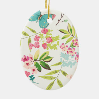 Rosa tropischer Schmetterlings-Girly Blumen-mit Ovales Keramik Ornament