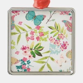 Rosa tropischer Schmetterlings-Girly Blumen-mit Quadratisches Silberfarbenes Ornament