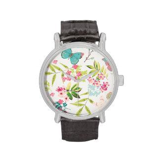 Rosa tropischer Schmetterlings-Girly Blumen-mit Handuhr