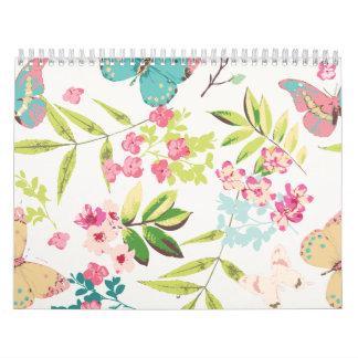 Rosa tropischer Schmetterlings-Girly Blumen-mit Wandkalender