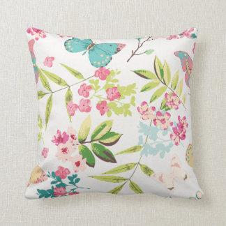 Rosa tropischer Schmetterlings-Girly Blumen-mit Zierkissen