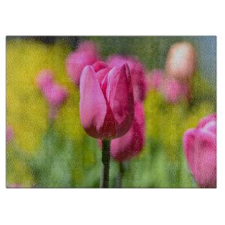 Rosa Tulpe im Garten Schneidebrett