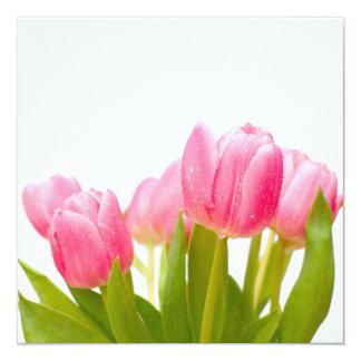 Rosa Tulpen Quadratische 13,3 Cm Einladungskarte