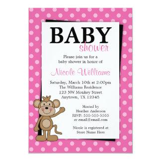 Rosa Tupfen-Affe-Babyparty-Einladungen 12,7 X 17,8 Cm Einladungskarte