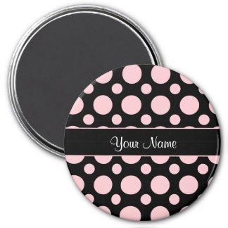 Rosa Tupfen auf schwarzem Hintergrund Runder Magnet 7,6 Cm