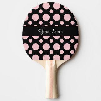 Rosa Tupfen auf schwarzem Hintergrund Tischtennis Schläger