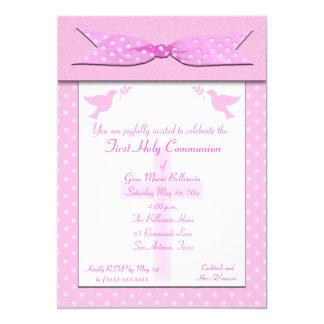 Rosa Tupfen-erste heilige Kommunions-Einladung 12,7 X 17,8 Cm Einladungskarte