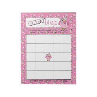 Rosa Tupfen-Eulen-Babyparty-Thema-Bingo-Spiel Notizblock