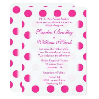 Rosa Tupfen-Hochzeit 14 X 19,5 Cm Einladungskarte