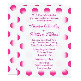 Rosa Tupfen-Hochzeit 16,5 X 22,2 Cm Einladungskarte