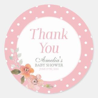 Rosa Tupfen mit empfindlichem Blumen danken Ihnen Runder Aufkleber