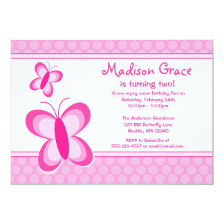 Rosa Tupfen-Schmetterlings-Geburtstags-Einladung 12,7 X 17,8 Cm Einladungskarte