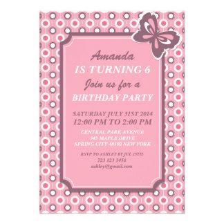 Rosa Tupfen und Schmetterlings-Einladungs-Karte Einladungskarten