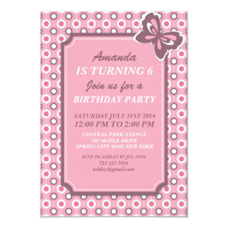Rosa Tupfen und Schmetterlings-Einladungs-Karte 12,7 X 17,8 Cm Einladungskarte