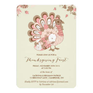 Rosa TürkeiblumenErntedank-Fest-Einladung 12,7 X 17,8 Cm Einladungskarte