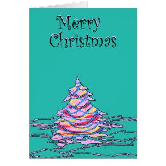 Rosa-u. Aqua-Weihnachtsbaum-Gruß-Karte Karte