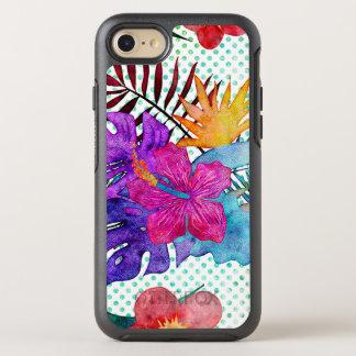 Rosa u. aquamarines tropisches großes Blumen mit OtterBox Symmetry iPhone 8/7 Hülle