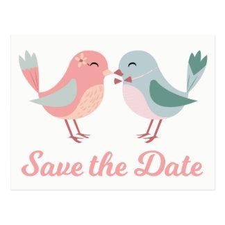 Rosa u. Blau Save the Date, die Lovebirds Wedding Postkarte