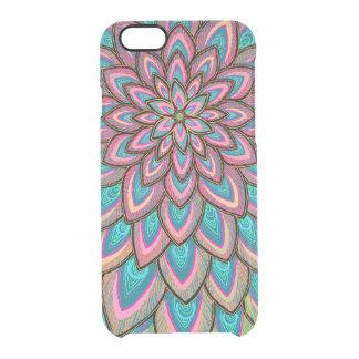 Rosa u. blaue, halb transparente, abstrakte Blume, Durchsichtige iPhone 6/6S Hülle