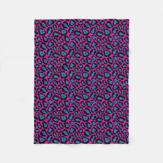 Rosa u. blaue Leopard-Druck-Fleece Fleecedecke