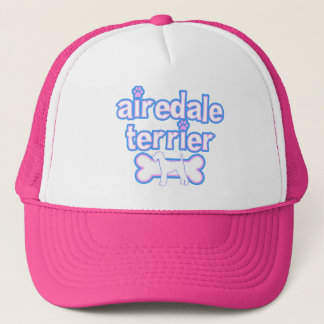 Rosa u. blaues Airedale Terrier Truckerkappe