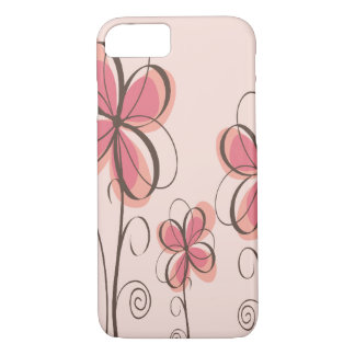 Rosa u. Brown-Gekritzel-Blumen-Entwurf iPhone 8/7 Hülle