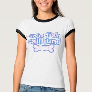 Rosa u. der Wecker-T-Stück blauer Schwede Vallhund T-Shirt