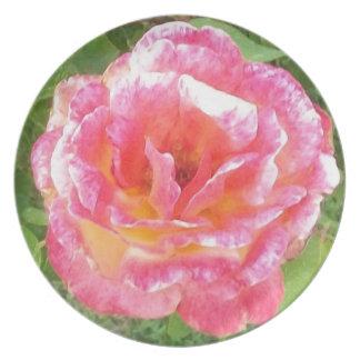 Rosa-u. Gelb-gepunktete Rose Melaminteller