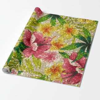 Rosa-u. Gelb-Glittery Blumen Geschenkpapier