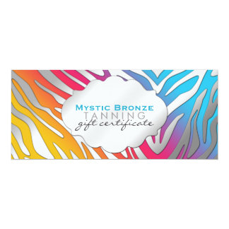 Rosa u. gelbes Zebra-Druck-Neongeschenk Certicates 10,2 X 23,5 Cm Einladungskarte
