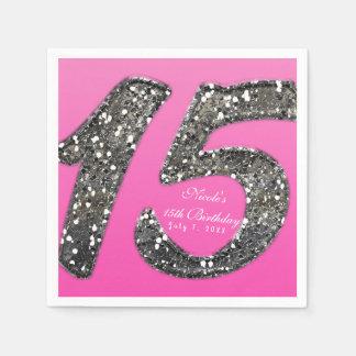 Rosa u. Glitter fünfzehn 15 Papierserviette