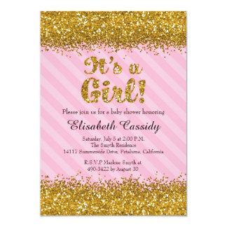 Rosa u. GoldGlitter-Baby-Mädchen-Duschen-Einladung Karte