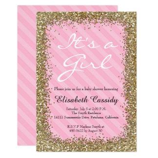 Rosa u. GoldGlitzer-Baby-Mädchen-Duschen-Einladung Karte