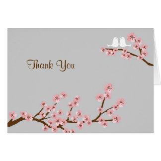 Rosa u. grauer Kirschblüten-Frühling danken Ihnen Karte