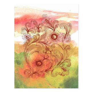Rosa-u. Grün-BlumenAquarell Postkarte