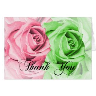 Rosa u. grüne Rosen danken Ihnen zu kardieren Karte
