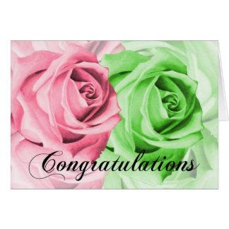 Rosa u. grüne Rosen-Glückwunsch-Karte Karte