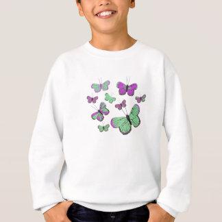 Rosa u. grüne Schmetterlinge Sweatshirt