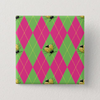 Rosa u. grüner Rauten-Marienkäfer Quadratischer Button 5,1 Cm