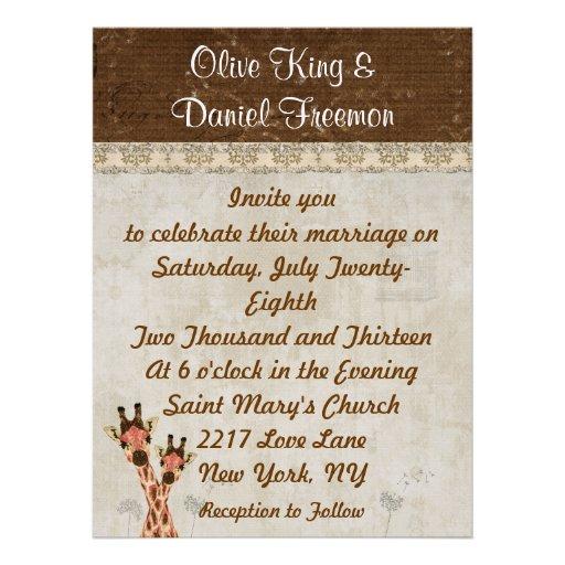 Rosa u. kupferne Giraffen, die Einladung Wedding