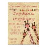 Rosa u. kupferne Giraffen-Geburtstags-Einladung 14 X 19,5 Cm Einladungskarte