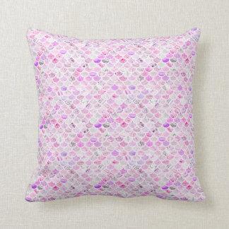Rosa u. lila Marmormeerjungfrau-Skalen Kissen