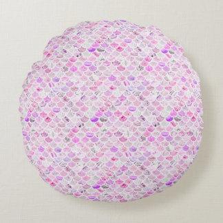 Rosa u. lila Marmormeerjungfrau-Skalen Rundes Kissen