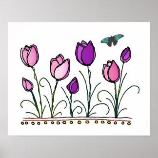 Rosa u. lila Tulpe-Garten Plakatdruck