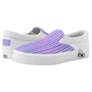 Rosa u. lila u. blaue Streifen Zipz Beleg auf Slip-On Sneaker
