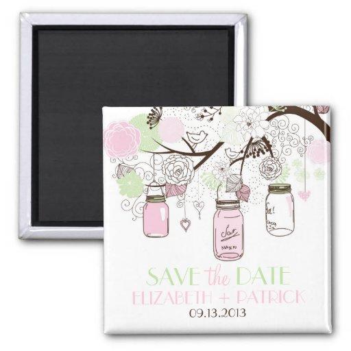 Rosa-u. Minzen-grüner Maurer-Glas-Save the Date Ma Magnets