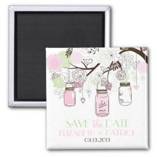 Rosa-u. Minzen-grüner Maurer-Glas-Save the Date Quadratischer Magnet