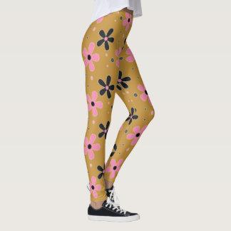 Rosa u. schwarze Blumen-Gamaschen Leggings
