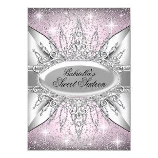 Rosa u. Silber-Schein-Diamant-Bonbon 16 laden ein 11,4 X 15,9 Cm Einladungskarte