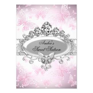Rosa u. Silber-Schein-Schmetterling 16. Geburtstag 11,4 X 15,9 Cm Einladungskarte